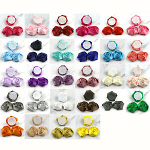 5-20Pcs-2-034-Satin-Ribbon-Flower-Rosebuds-Wedding-Appliques-Clothing-Sewing-Decor