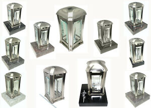 Grablampe Edelstahl matt mit Sockel oder Erdanker Grablaterne Allerheiligen Grab