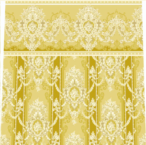 Dolls House Wallpaper 1//12 th scale Curtains 8 ins or 11 ins high Gold #127C