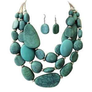 Statement-Layered-Strands-Turquoise-Stone-simulated-Chunky-Beads-Necklace-Set