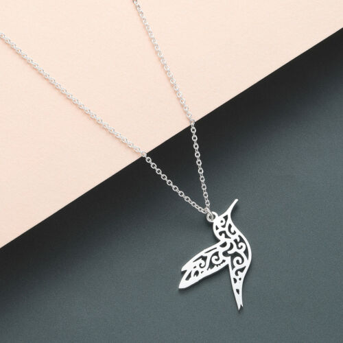 Rose Gold Silver Origami Hummingbird Pendant Chain Bird Necklaces Animal Jewelry