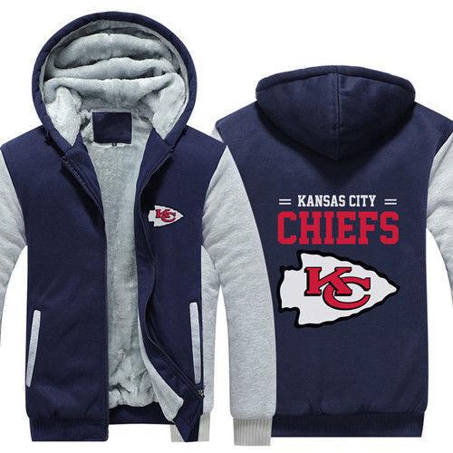 New Kansas City Chiefs Hoodie Winter Fleece Mens Thicken Sweatshirts Coat