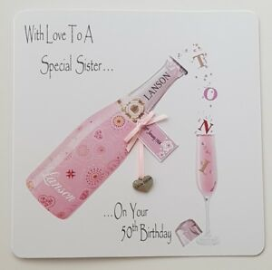 Image Is Loading Personalised 50th Birthday Card Little Sister Champagne Big