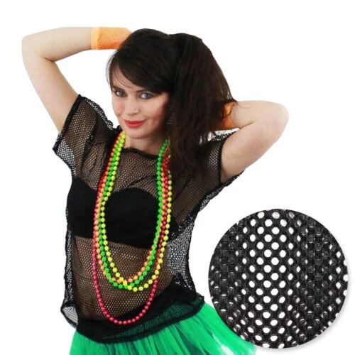 LARGE BLACK FISHNET MESH T-SHIRT Short Sleeve Sheer See Through Club Dance Disco