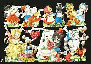 German Victorian Style Embossed Scrap Die Cut -Dancing Kitten / Valentine EF7033