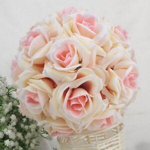 Kunstseide-Rose-Kuessen-Blumen-Kugel-Bisamapfel-Hochzeitsparty-Bukett-Dekor-ST