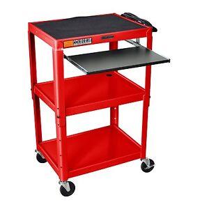 Mobile-Stand-Up-Computer-Desk-Workstation-Cart-in-Red-Steel
