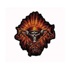 Biker Chopper Indian Flame Headress Skull Indianer Aufbügler Aufnäher Patch NEU