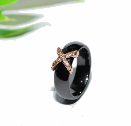 selección Anillo de cerámica pedrería Rosegold dedo anillo blanco negro 6mm lujo +