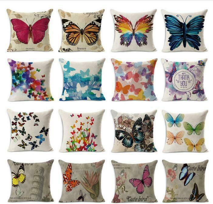 Butterfly Cushion Cover Pattern Decorative Pillow Case Cotton Linen Square Throw
