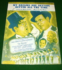 MY DREAMS ARE GETTING BETTER ALL THE TIME Sheet Music ABBOTT COSTELLO IN SOCIETY