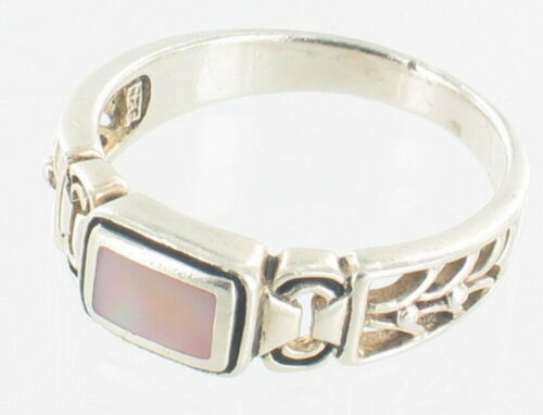 Vintage Pretty Sterling Mop Mother Of Pearl Band Ring Cut-Outs Sz 7.25