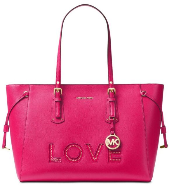 6d21813103b8f5 Michael Kors Ultra Pink Love Voyager Saffiano Leather Large Tote Purse Bag