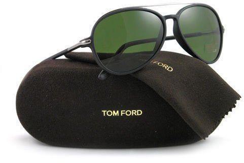 Tom Ford Ramone TF 149 02N Matte Black Aviator Sunglasses Green Lens 58mm