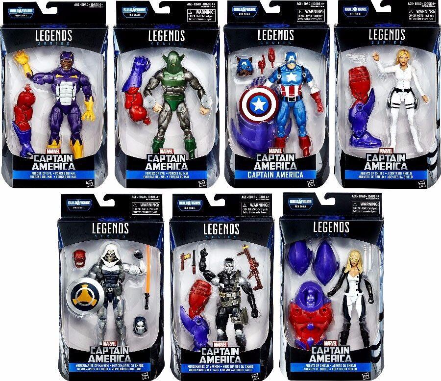 Marvel Leyendas capitán América Figura De Acción Baf rojo cráneo ataque Conjunto de 7