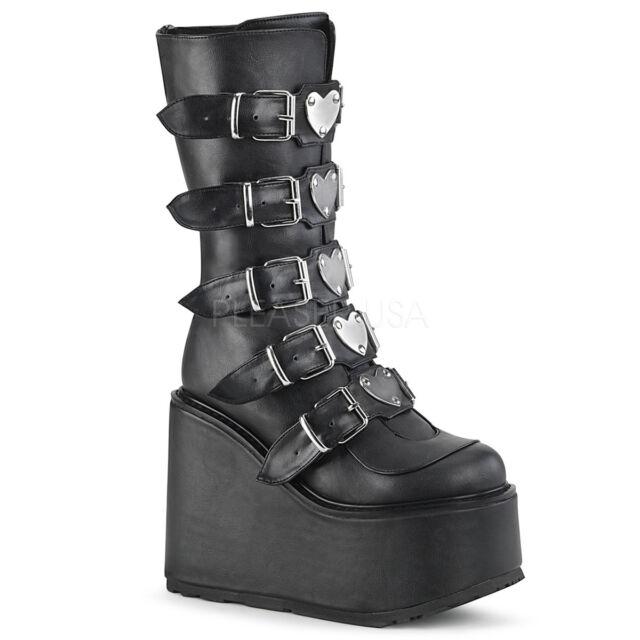 6d9f760034c Demonia SWING-230 Women's Black Vegan Leather Platform w/ 5 Buckle Mid-Calf  Boot