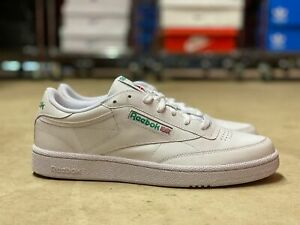 reebok club c 85 low mens leather casual shoes white/green
