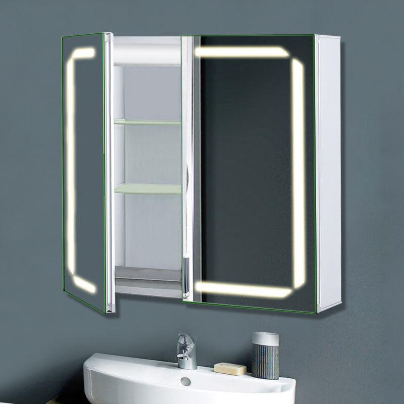 Luxus LED Badezimmer Spiegelschrank Badspiegel mit LED-bauleuchte Blautooth IP44