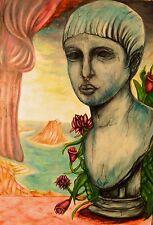 Gemalde Bild Grafik ORGINAL NO Poster Love Öl Women Face Farbe Art 26x39