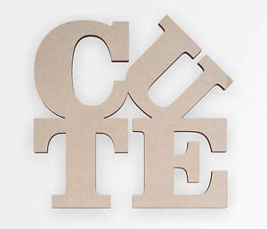 "Wooden Sign ""Cute"", Cute Wooden Cut Out, Wall Art, Home Decor, Wall Hanging"