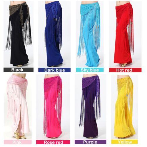 Belly Dance Costume Sequins Long Tassel Belt Hip Scarf Wrap 8 Colors