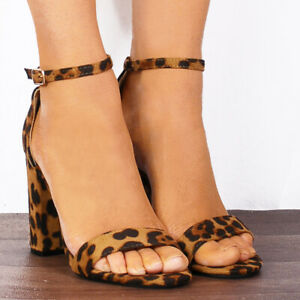 3df92c1f0443 LEOPARD ANIMAL PRINT BLOCK HIGH HEELED ANKLE STRAP STRAPPY SANDALS ...