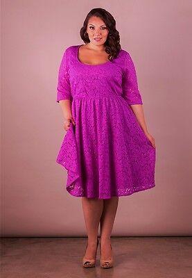 Plus Size Dress Lace White Black 1X 6X SWAK Short Sleeve USA MADE Scoop Neck