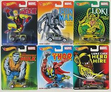 HOT WHEELS NOSTALGIA MARVEL SET OF 6 IRON MAN HULK THOR DAREDEVIL LOKI LUKE CAGE