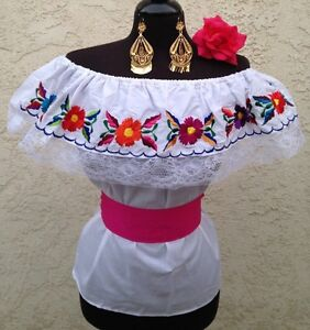 Image is loading Mexican-Embroidered-Blouse-On-Off-Shoulder-w-small-
