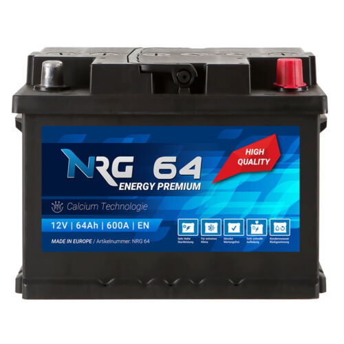 NRG Autobatterie 12V 64Ah 600A//EN ersetzt 55Ah 56Ah 60Ah 61Ah 62Ah 63Ah BAtterie
