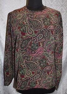 Pendleton-Mujer-Vintage-Blusa-Sz-14-Estampado-Cachemira-redondo-cuello-N-Top-Con