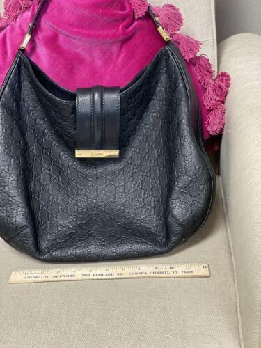 Gucci Guccissima Black Leather Hobo Bag