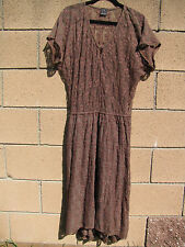 Ella Moss Large Brown Embroidered Lace Dress Sheer Top Lined Bottom Midi