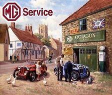 MG Service Vintage Car Garage in a Rural Village Mechanic, Small Metal/Tin Sign