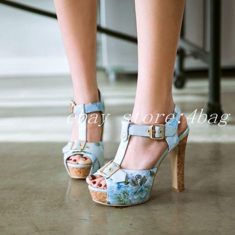 Peep Toe Floral Printed Roman Sandals Womens Block Heels shoes T Strap Clubwear