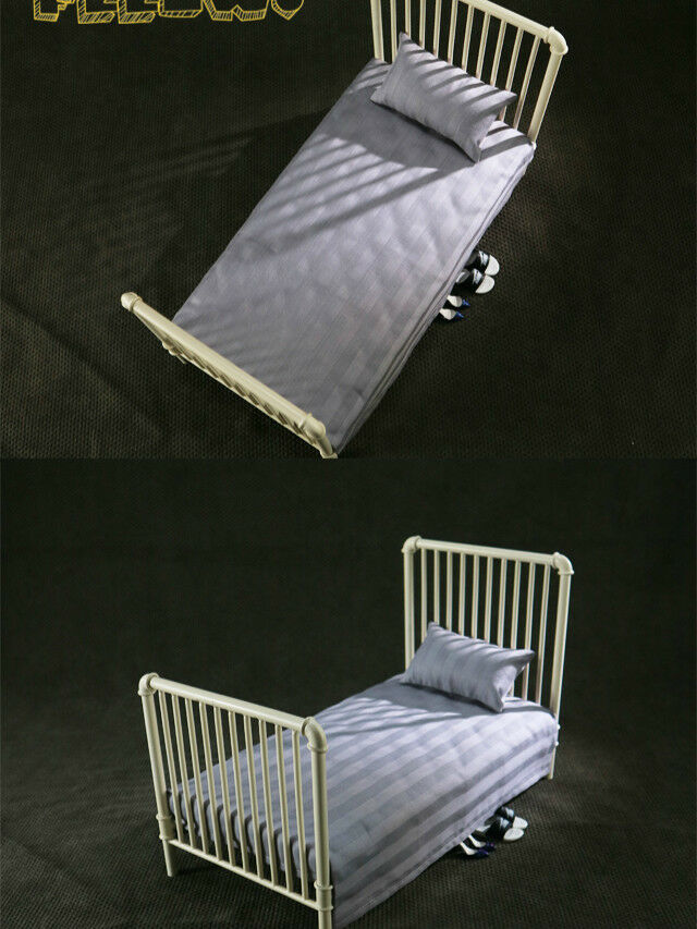 PO 1/6 Scale FEELWOTOYS 1/6 Metal Bed + bianca  Mattress