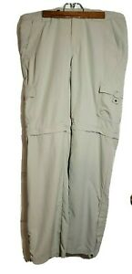 Columbia-Sportswear-Khaki-Beige-100-Nylon-Convertible-Zip-Off-Pants-Size-10
