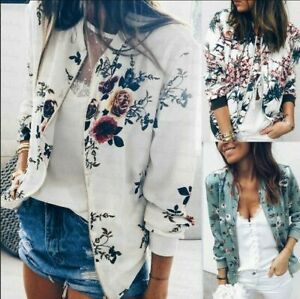 Fashion Womens Floral Zipper Bomber Jacket Baseball Casual Coat Outwear Plus SZ