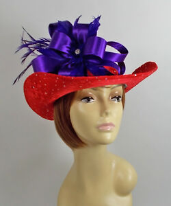 134c6d1cd02 Image is loading RED-SPARKLING-COWBOY-HAT-PURPLE-SATIN-CRYSTAL-ACCENT-
