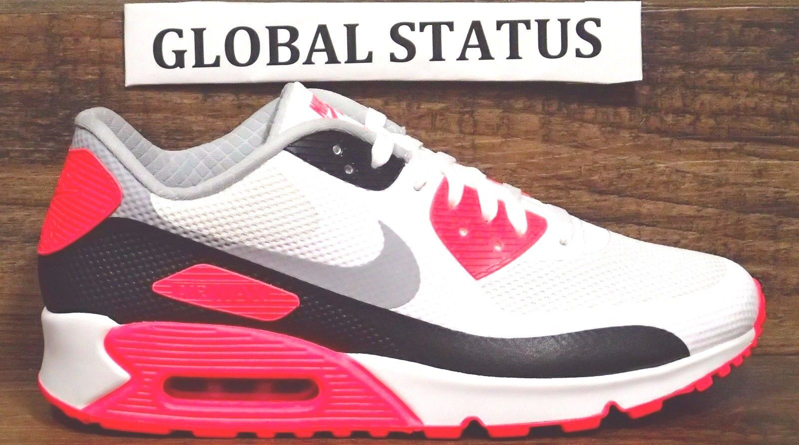 NIKE ID MEN AIR MAX 90 HYPERFUSE WHITE INFRARED SOLAR RED SHOES 822560 997 SZ 10