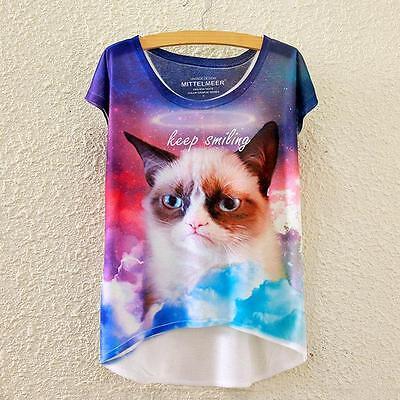 Vintage Cool Animal 3d Full Print Batwing Blouse Loose T shirt  Tee Top Women