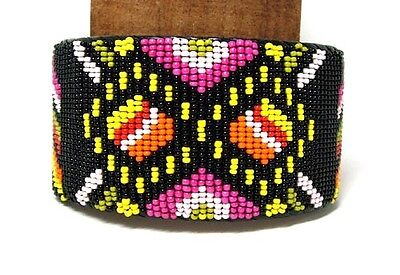 "Beaded Cuff Bracelet Geometric design 2"" W x 8"" L Leather Backed Adjustable #09"