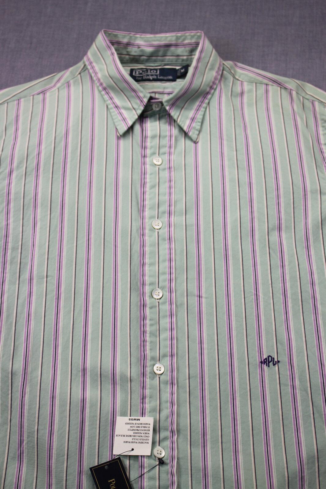 RALPH LAUREN POLO Mens Green & Purple greenical Stripe Dress Shirt NWT  M
