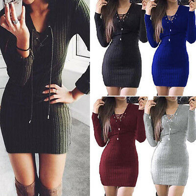 Womens Ladies Lace Up Knitted Sweater Bodycon Jumper Dress Winter Party Dresses