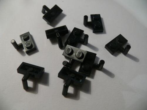 Lego 10 plates mod noires set 6079 6246 7261 6285  //10 black plate with arm