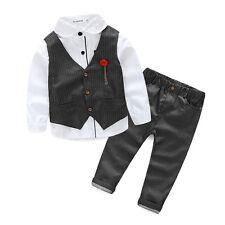 3PCS Kids Baby Boys Suit Clothes T-Shirt Tops+Waistcoat+Pants Clothes Outfits S1