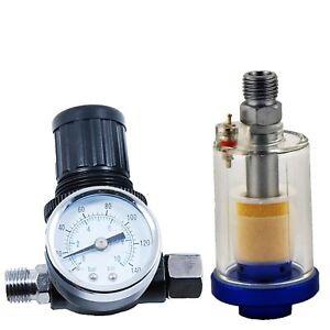 Spray-Gun-Air-Regulator-Gauge-amp-In-line-Water-Trap-Filter