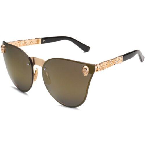Crâne Femmes Cat Eye Lunettes de soleil VINTAGE OVERSIZE contour miroir Cateye Eyewear