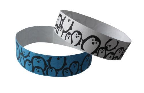 blau 100 Tyvek-Kontrollbänder-Wristbands-Bracelets bedruckt PINGUIN in weiß