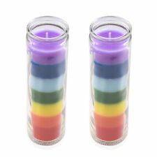 Home Decor Aromatherapy Set of 2 Multi Color Wax Glass Jar Tea Light Candle